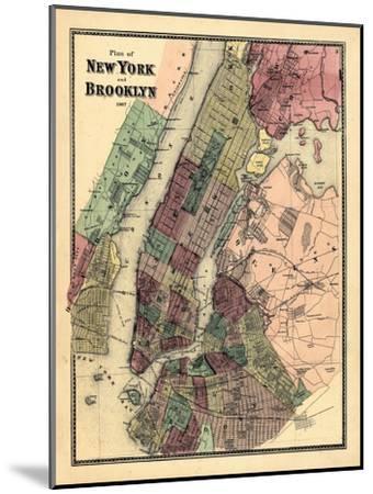 1867, New York & Brooklyn Plan, New York, United States--Mounted Premium Giclee Print