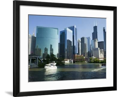 Motorboats in a River, Chicago River, Chicago, Cook County, Illinois, USA 2010--Framed Photographic Print
