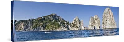 Rock Formations in the Sea, Faraglioni, Capri, Naples, Campania, Italy--Stretched Canvas Print