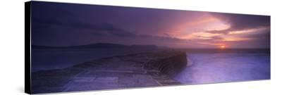 Sea at Dawn, the Cobb, Lyme Regis, Dorset, England--Stretched Canvas Print