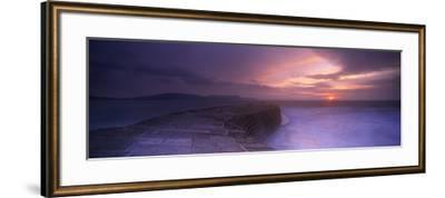 Sea at Dawn, the Cobb, Lyme Regis, Dorset, England--Framed Photographic Print