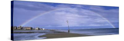 Rainbow over the Sea, Portobello, Edinburgh, Scotland--Stretched Canvas Print