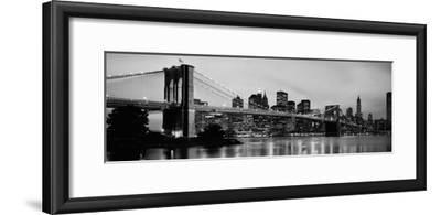 Brooklyn Bridge across the East River at Dusk, Manhattan, New York City, New York State, USA--Framed Photographic Print