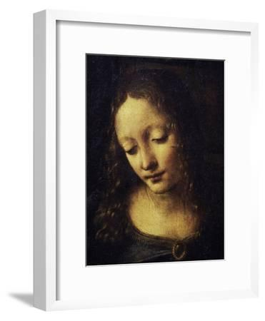 The Virgin of the Rocks Detail of Virgin-Leonardo da Vinci-Framed Giclee Print