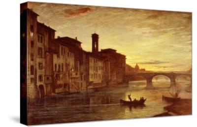 River Arno at Sunset Near Santa Trinità Bridge, Florence, Italy-Antonio Fontanesi-Stretched Canvas Print