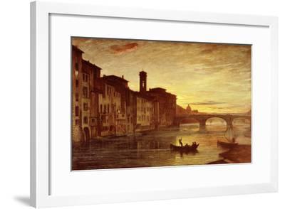 River Arno at Sunset Near Santa Trinità Bridge, Florence, Italy-Antonio Fontanesi-Framed Giclee Print
