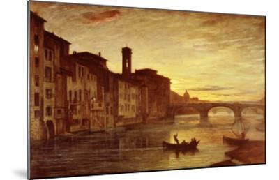 River Arno at Sunset Near Santa Trinità Bridge, Florence, Italy-Antonio Fontanesi-Mounted Giclee Print