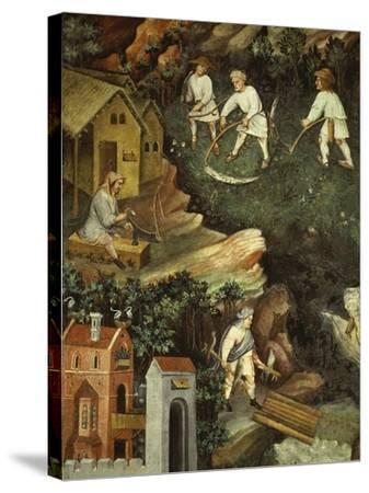 July or Leo with Courtiers Outside Manor House and Peasants with Scythes and Rakes (Detail)- Venceslao-Stretched Canvas Print