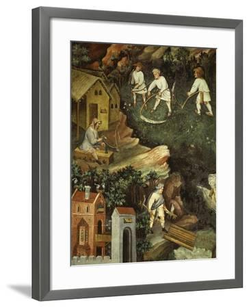 July or Leo with Courtiers Outside Manor House and Peasants with Scythes and Rakes (Detail)- Venceslao-Framed Giclee Print