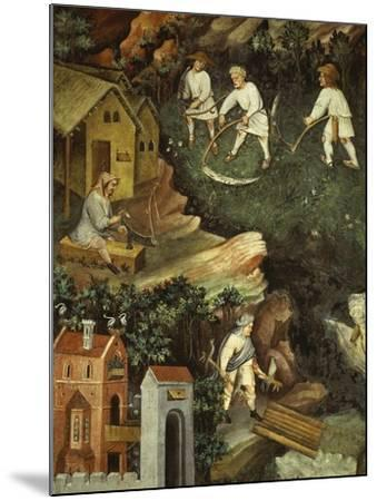 July or Leo with Courtiers Outside Manor House and Peasants with Scythes and Rakes (Detail)- Venceslao-Mounted Giclee Print