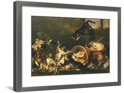 Cats Fighting in Pantry-Paul De Vos-Framed Giclee Print