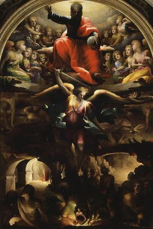 Archangel Michael Chasing Rebel Angels-Domenico Beccafumi-Stretched Canvas Print