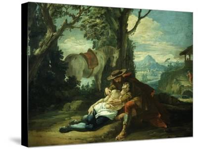 The Good Samaritan - Samaritan Helping Wounded Robbed Man-Domenico Fontebasso-Stretched Canvas Print