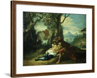 The Good Samaritan - Samaritan Helping Wounded Robbed Man-Domenico Fontebasso-Framed Giclee Print