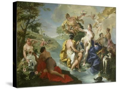 Goddess Diana and Nymphs and Actaeon Torn to Pieces by His Hounds or Dogs-Giovanni Battista Pittoni-Stretched Canvas Print