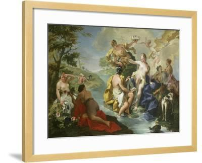 Goddess Diana and Nymphs and Actaeon Torn to Pieces by His Hounds or Dogs-Giovanni Battista Pittoni-Framed Giclee Print