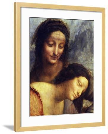St Anne, the Virgin Mary and the Christ Child, Detail of St Anne and the Virgin-Leonardo da Vinci-Framed Giclee Print
