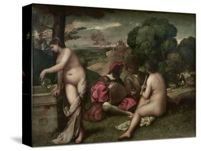 Concert Champetre, Open-Air Concert, Formerly Attributed to Giorgione, C. 1510-Titian (Tiziano Vecelli)-Stretched Canvas Print