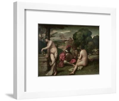 Concert Champetre, Open-Air Concert, Formerly Attributed to Giorgione, C. 1510-Titian (Tiziano Vecelli)-Framed Premium Giclee Print