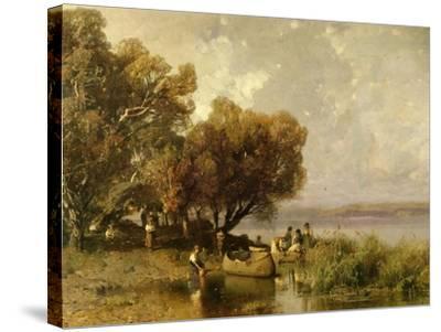 Fishermen at Lake Balaton-Geza Meszoly-Stretched Canvas Print