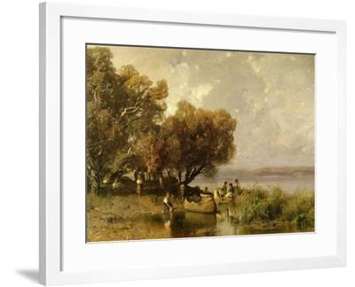 Fishermen at Lake Balaton-Geza Meszoly-Framed Giclee Print