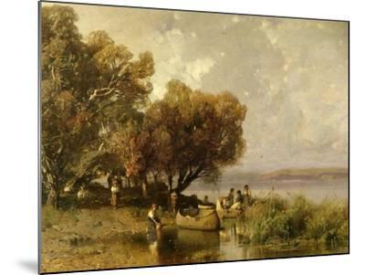 Fishermen at Lake Balaton-Geza Meszoly-Mounted Giclee Print