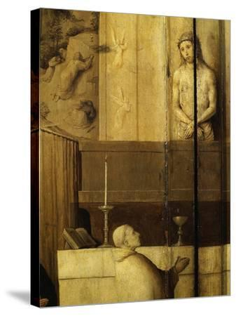 Dialogue Between Christ and Gregory the Great, 540-604 Saint and Pope, Grisaille-Hieronymus Bosch-Stretched Canvas Print