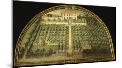 Villa Marignolle, Tuscany, Italy, from Series of Lunettes of Tuscan Villas, 1599-1602-Giusto Utens-Mounted Giclee Print