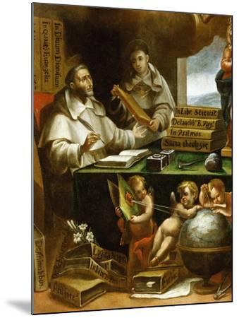 Saint Albert Writing, Apparition of Saint Paul to Saint Albert the Great and Saint Thomas Aquinas-Alonso Antonio Villamor-Mounted Giclee Print