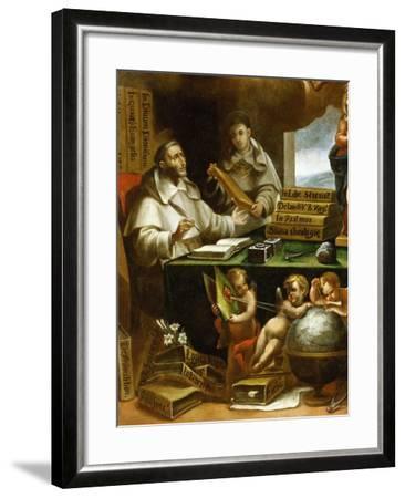 Saint Albert Writing, Apparition of Saint Paul to Saint Albert the Great and Saint Thomas Aquinas-Alonso Antonio Villamor-Framed Giclee Print
