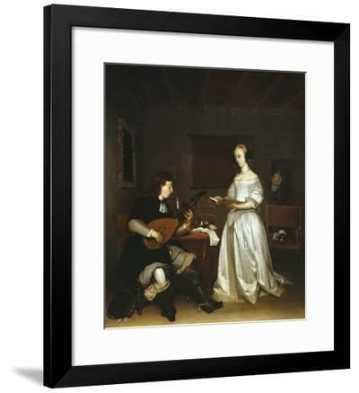 The Duet, Singer and Theorbo Lute Player, 1669-Gerard ter Borch-Framed Giclee Print