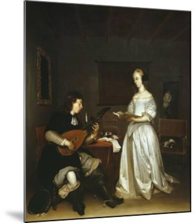 The Duet, Singer and Theorbo Lute Player, 1669-Gerard ter Borch-Mounted Giclee Print