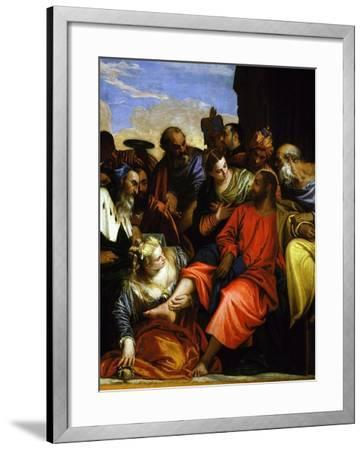 Mary Magdalene Washing Feet of Jesus Christ, Detail from the Meal at the House of Simon, C.1560-Paolo Veronese-Framed Giclee Print