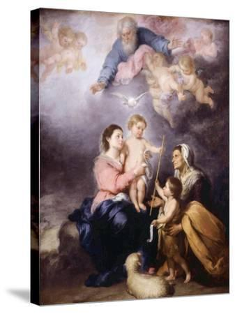 The Holy Family, Called the Virgin of Seville, 1670-Bartolome Esteban Murillo-Stretched Canvas Print