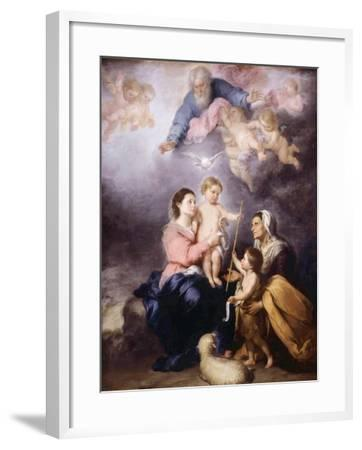 The Holy Family, Called the Virgin of Seville, 1670-Bartolome Esteban Murillo-Framed Giclee Print