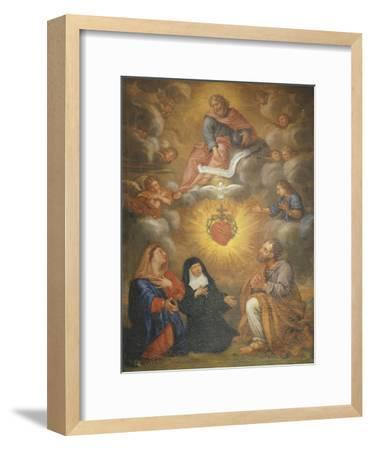 Adoration of the Sacred Heart of Jesus by the Angels, Mary and Joseph and Margaret Mary Alacocque-French School-Framed Giclee Print