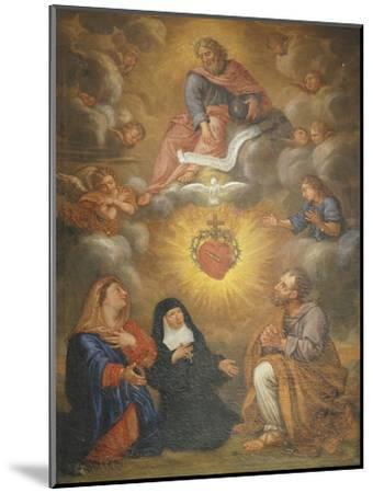 Adoration of the Sacred Heart of Jesus by the Angels, Mary and Joseph and Margaret Mary Alacocque-French School-Mounted Giclee Print