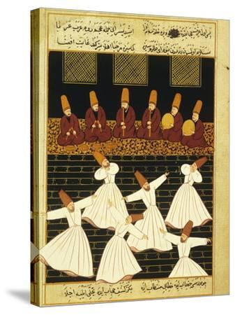 Konya Whirling Dervishes Ritual, 16th Century, Ottoman Miniature of the Anatolian School--Stretched Canvas Print