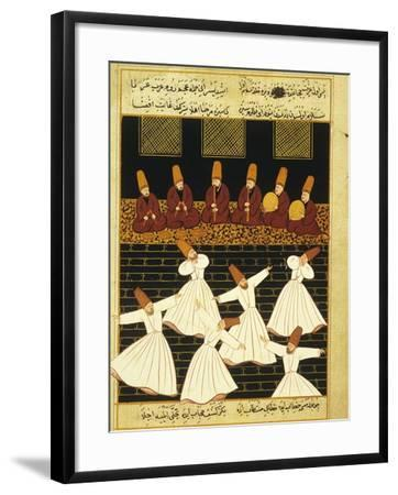 Konya Whirling Dervishes Ritual, 16th Century, Ottoman Miniature of the Anatolian School--Framed Giclee Print