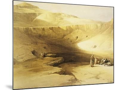 Entrance to the Valley of the Kings, Biban El Muluk, Egypt, Lithograph, 1838-9-David Roberts-Mounted Giclee Print