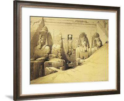 Temple of Abu Simbel, 13th Century Bc, Façade, Egypt, Lithograph, 1838-9-David Roberts-Framed Giclee Print