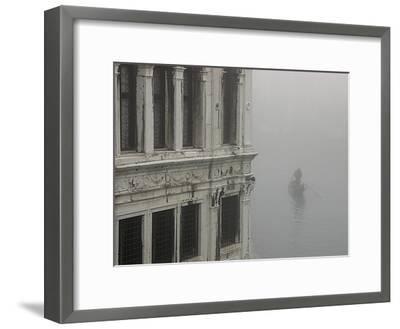 A Gondola Glides Through a Canal in Fog-Kike Calvo-Framed Photographic Print