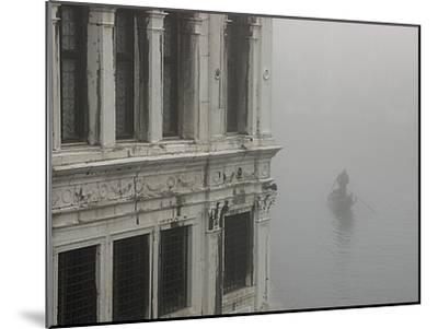 A Gondola Glides Through a Canal in Fog-Kike Calvo-Mounted Photographic Print