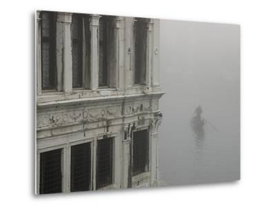 A Gondola Glides Through a Canal in Fog-Kike Calvo-Metal Print