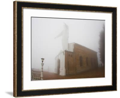 Thick Fog Engulfing the Santuario De Guadalupe Christ Statue-Mike Theiss-Framed Photographic Print