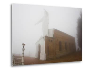 Thick Fog Engulfing the Santuario De Guadalupe Christ Statue-Mike Theiss-Metal Print