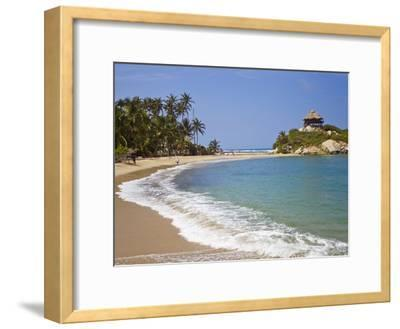 Palm Tree Lined Beach and Turquoise Waters at Cabo San Juan-Mike Theiss-Framed Photographic Print