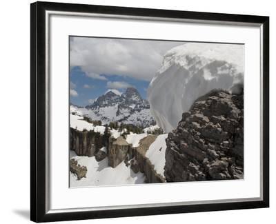 A Snow Cornice on a Ridge in Front of Teton Range-Greg Winston-Framed Photographic Print