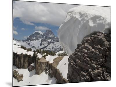 A Snow Cornice on a Ridge in Front of Teton Range-Greg Winston-Mounted Photographic Print
