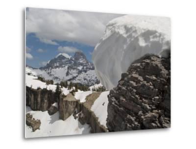 A Snow Cornice on a Ridge in Front of Teton Range-Greg Winston-Metal Print